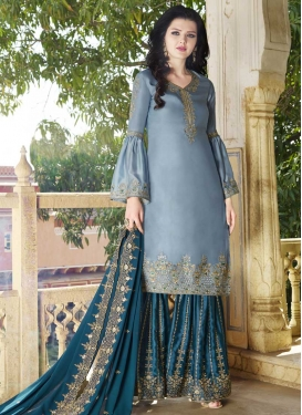Light Blue and Teal Embroidered Work Faux Georgette Sharara Salwar Suit
