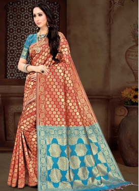 Light Blue and Tomato Thread Work Contemporary Style Saree