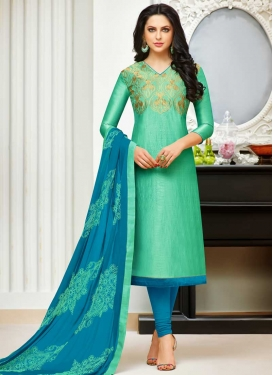 Light Blue and Turquoise Banarasi Silk Trendy Churidar Salwar Suit For Ceremonial