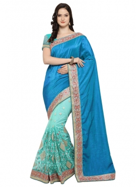 Light Blue and Turquoise  Half N Half Trendy Saree