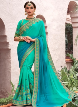 Light Blue and Turquoise Lace Work Trendy Classic Saree