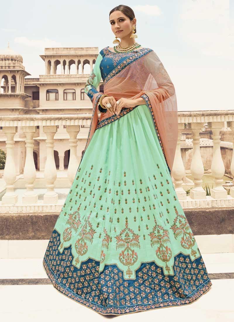Light Blue and Turquoise Satin Silk Designer Classic Lehenga Choli