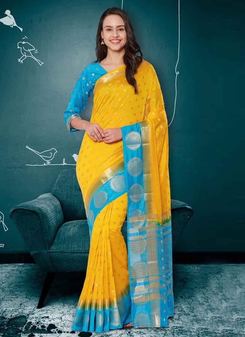 Light Blue and Yellow Thread Work Banarasi Silk Contemporary Saree