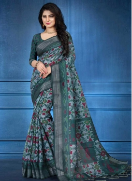 Linen Bottle Green and Grey Traditional Saree
