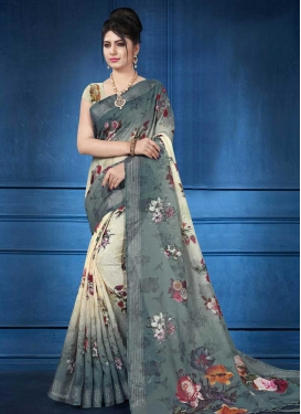 Linen Cream and Grey Digital Print Work Contemporary Saree