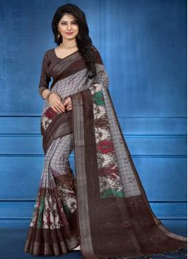 Linen Digital Print Work Brown and Grey Trendy Saree