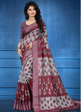 Linen Grey and Maroon Trendy Classic Saree