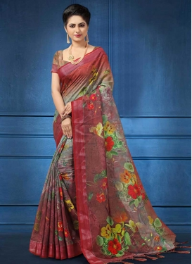 Linen Grey and Rust Digital Print Work Designer Contemporary Saree