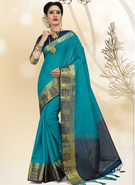 Linen Navy Blue and Teal Trendy Saree