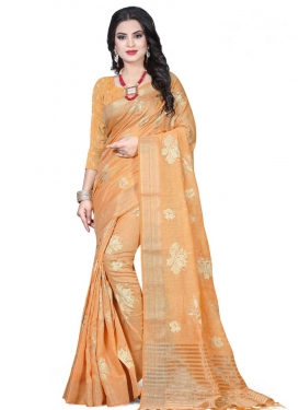 Linen Print Work Designer Contemporary Saree