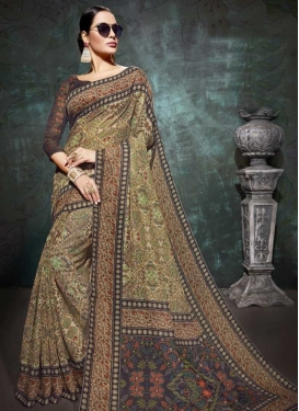 Linen Print Work Designer Contemporary Style Saree