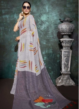 Linen Print Work Trendy Classic Saree