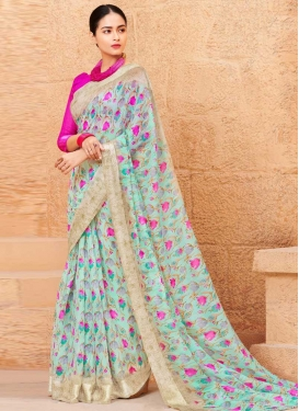 Linen Rose Pink and Turquoise Traditional Designer Saree For Casual