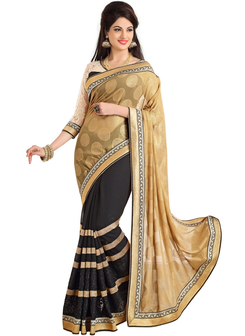 Lively Beige And Black Color Half N Half Party Wear Saree