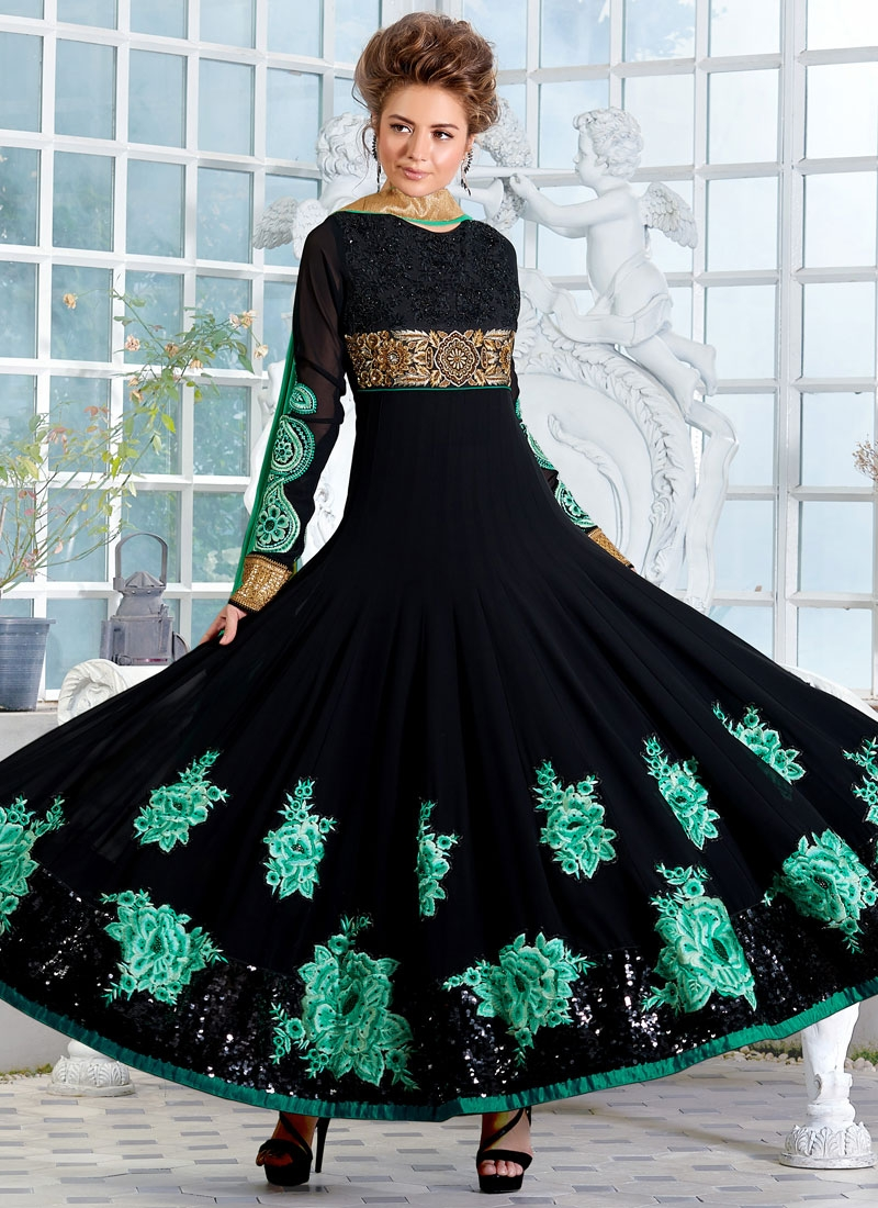 Lively Black Color Sequins Work Flaring Style Anarkali Salwar Kameez