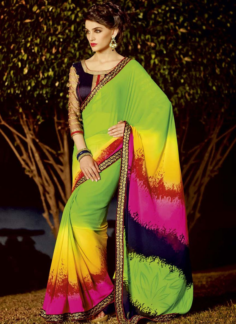 Lively Digital Print And Lace Work Casual Saree