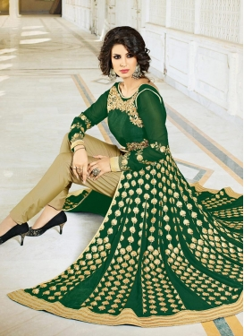 Lively Embroidered Work  Pant Style Salwar Kameez