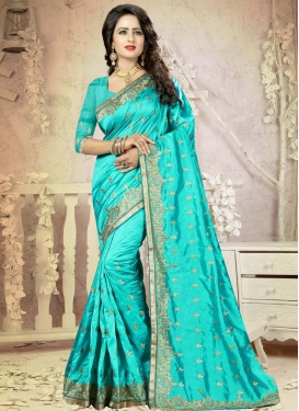 Lively Embroidered Work Trendy Saree