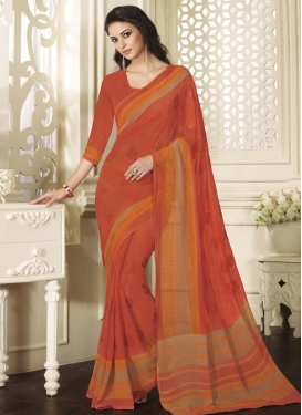 Lively Faux Georgette Print Work Trendy Classic Saree For Festival
