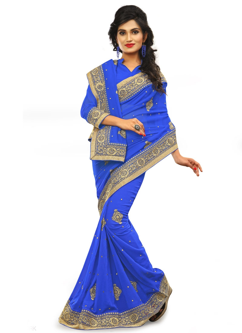 Lively Faux Georgette Resham Work Party Wear Saree