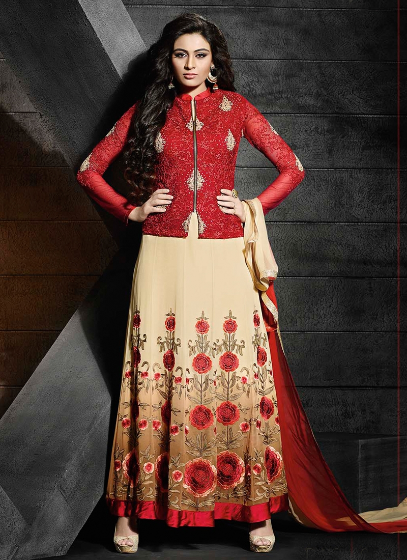 Lively Floral And Stone Work Long Length Designer Suit