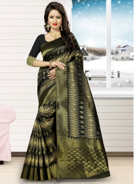 Lively Jacquard Silk Thread Work Traditional Saree