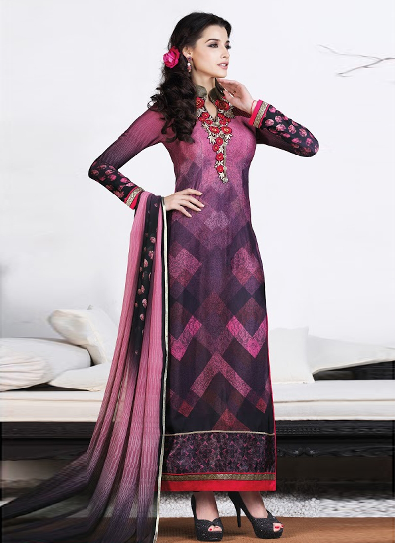 Lively Resham Work Long Length Pakistani Suit