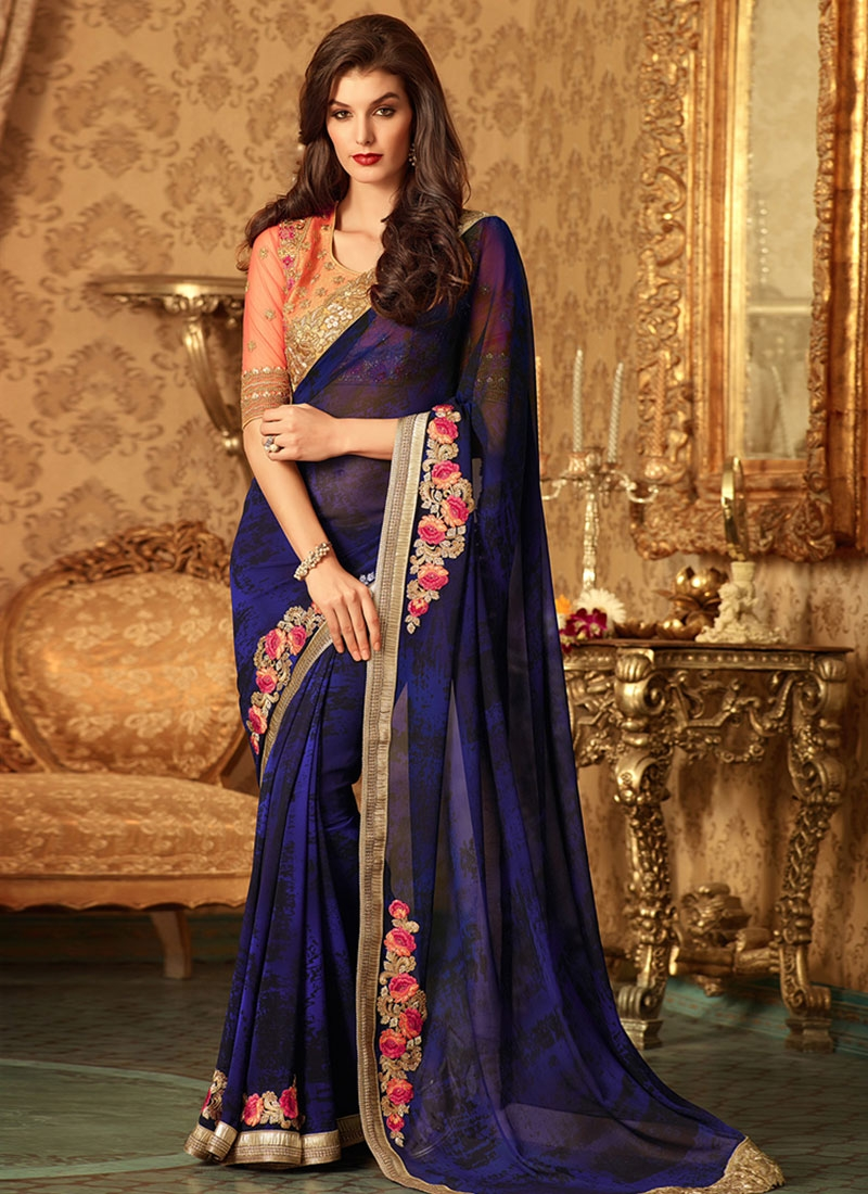 Lively Resham Work Navy Blue Color Party Wear Saree