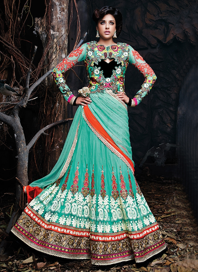 Lively Stones And Lace Work Designer Lehenga Choli