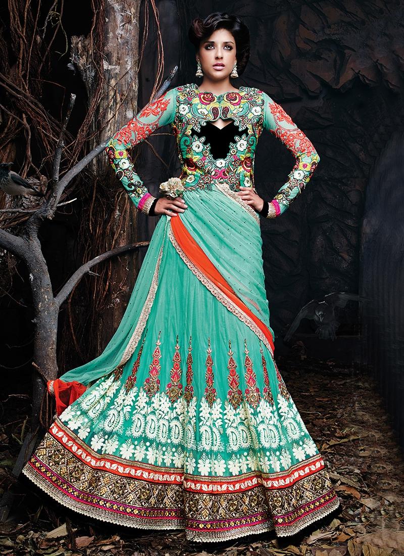 Lively Stones And Lace Work Designer Lehenga Choli