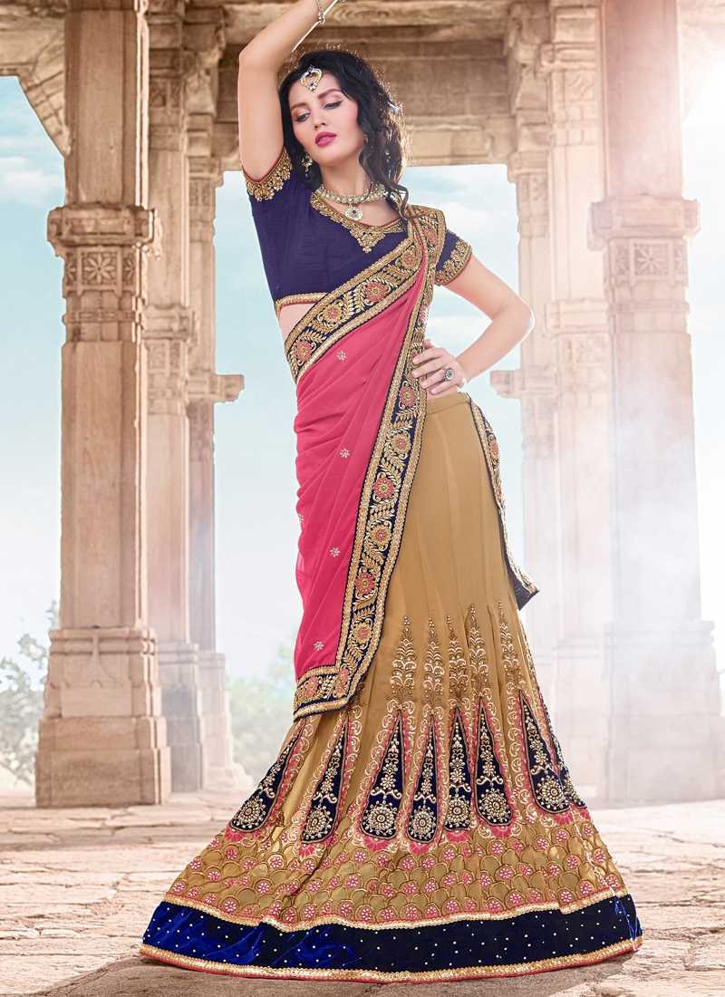 Lively Velvet Patch And Booti Work Wedding Lehenga Choli