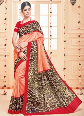 Lordly Art Silk Digital Print Work Cream and Peach Trendy Classic Saree