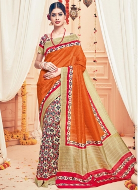 Lordly Art Silk Print Work Beige and Orange Half N Half Saree