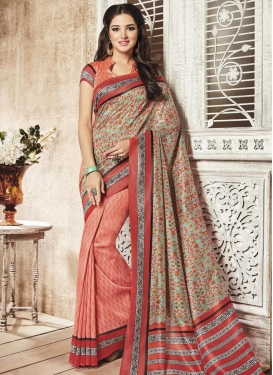 Lordly Beige and Peach Print Work  Half N Half Saree