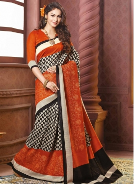 Lordly Black and Orange  Trendy Classic Saree
