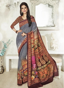 Lordly Digital Print Work Trendy Saree For Ceremonial