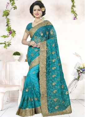 Lordly Embroidered Work Trendy Classic Saree