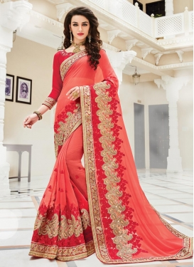 Lordly Embroidered Work Trendy Designer Saree For Festival