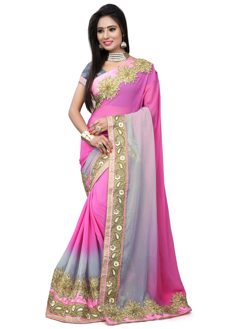 Lordly Faux Chiffon Patch Border Work Designer Saree