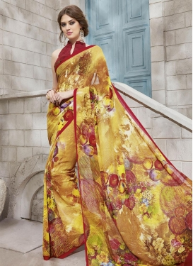 Lordly Faux Georgette Mustard and Red Digital Print Work Classic Saree