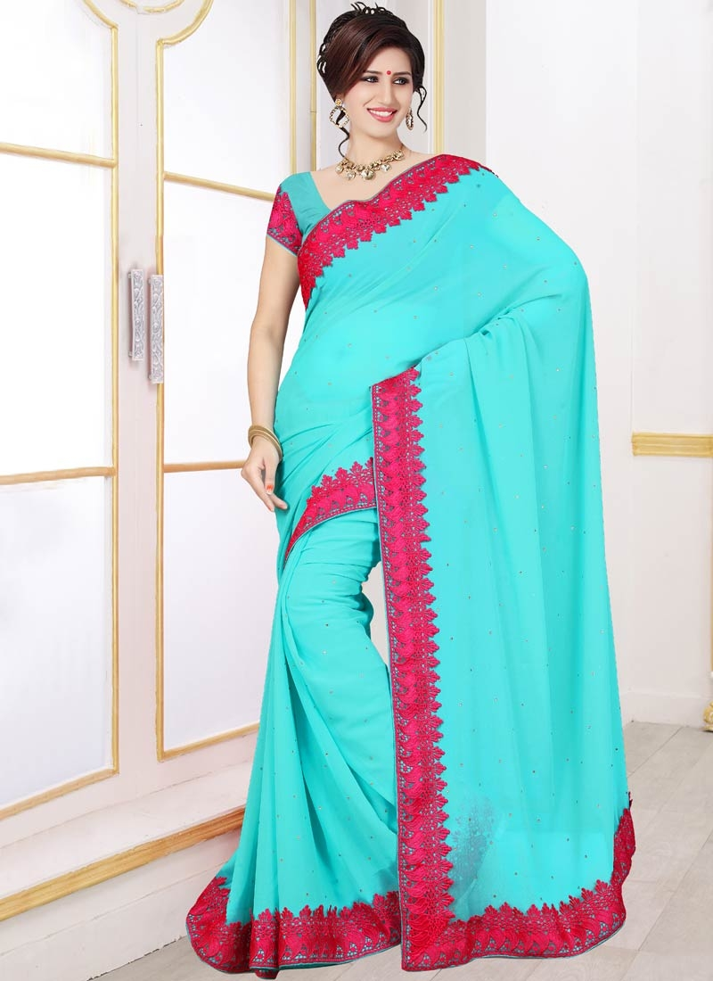 Lordly Faux Georgette Stone Work Casual Saree
