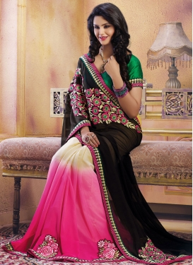 Lordly Lace And Floral Work Half N Half Designer Saree