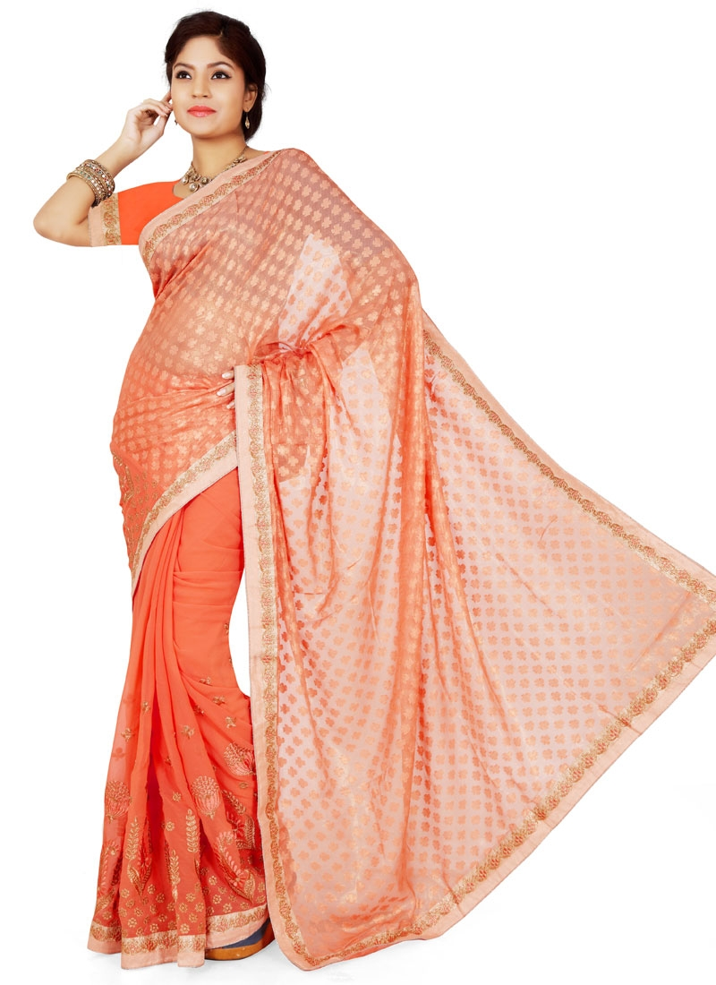 Lordly Lace Work Brasso Party Wear Saree