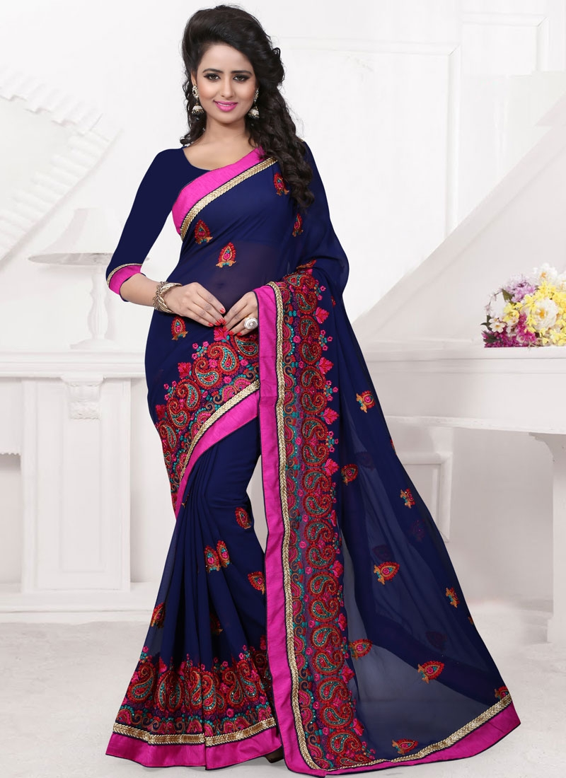 Lordly Navy Blue Color Stone Work Designer Saree