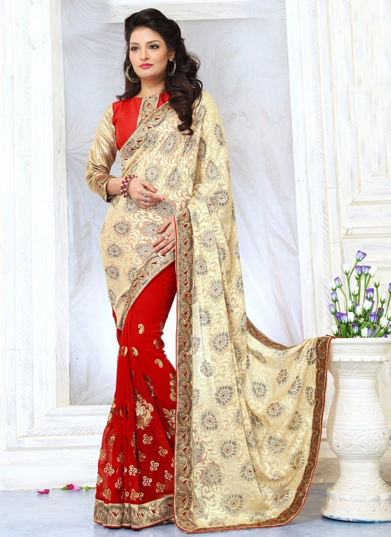 Lordly Red And Cream Color Booti Work Half N Half Party Wear Saree