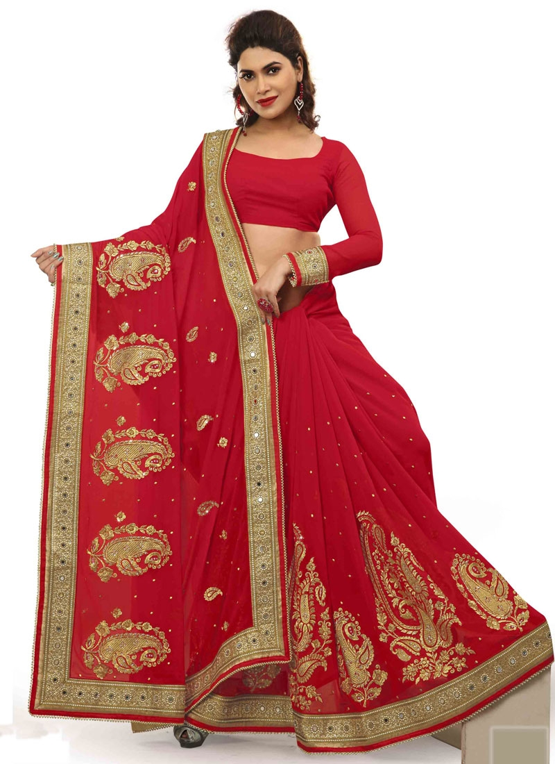 Lordly Red Color Stone And Mirror Work Designer Saree