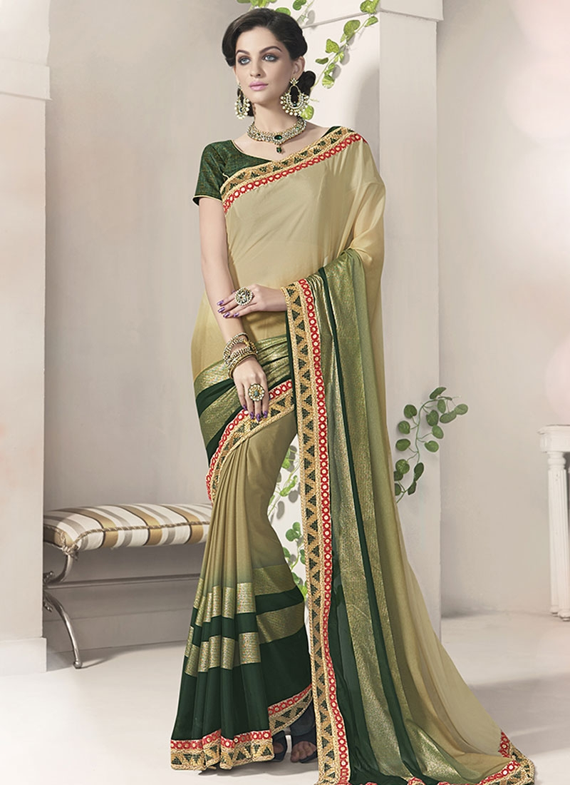 Lordly Silk Georgette Lace Work Party Wear Saree