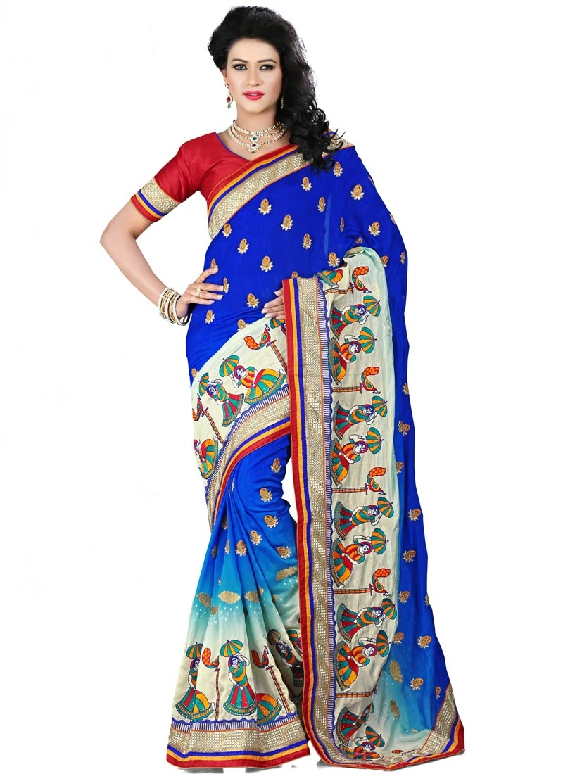 Lordly Stone Work Blue Color Designer Saree