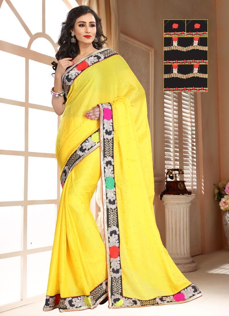 Lordly Yellow Color Chiffon Satin Casual Saree