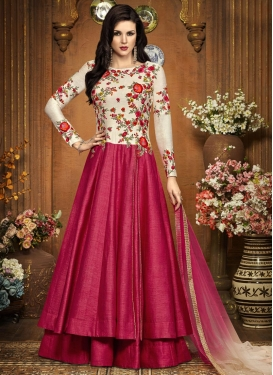 Lovable Art Silk Layered Designer Salwar Kameez For Festival